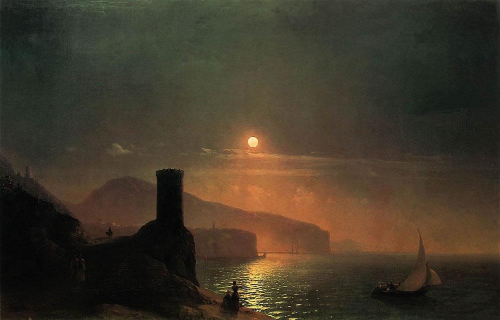 Можно сравнить этот рисунок с картиной Ивана Айвазовского 1855 года «Вико близ Неаполя в лунную ночь»...