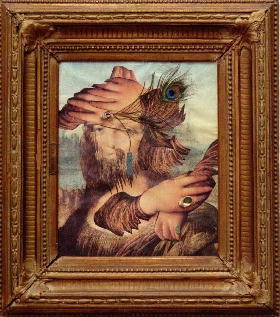 Портрет с павлиньим пером, 1988 коллаж: бумага, дерево