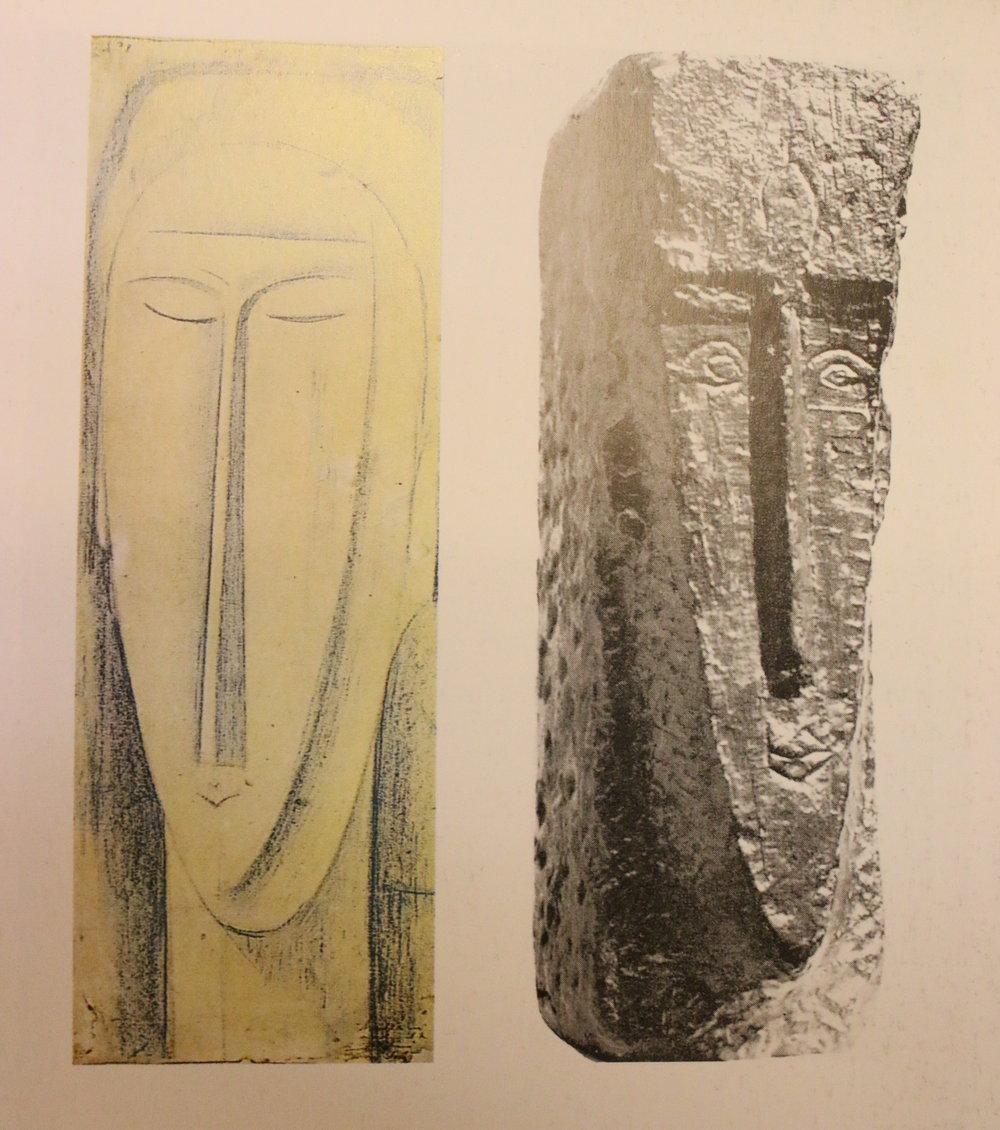 Слева: Этюд головы. Ок. 1912 Бумага, голубой мел.  Справа: Голова. Ок. 1911-1912 Бронза Слепок Вальзуани (одна из 12 копий), выбитого из камня оригинала