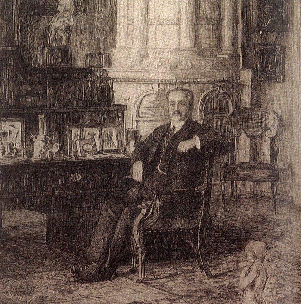 Князь Семен Семенович Абамелик в своем кабинете в Санкт-Петербурге. Фрагмент эстампа XX века