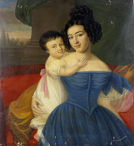 Екатерина Эммануиловна Манук-бей cо старшей дочерью Марией
