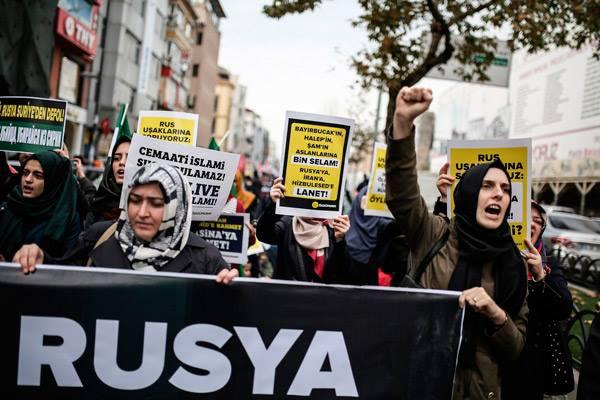Антироссийский митинг в Стамбуле в 2015 году