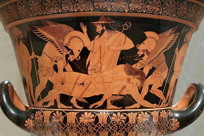 Гипнос  и  Танатос  уносят  тело  Сарпедона с поля битвы под Троей (5 в. до н. э.)