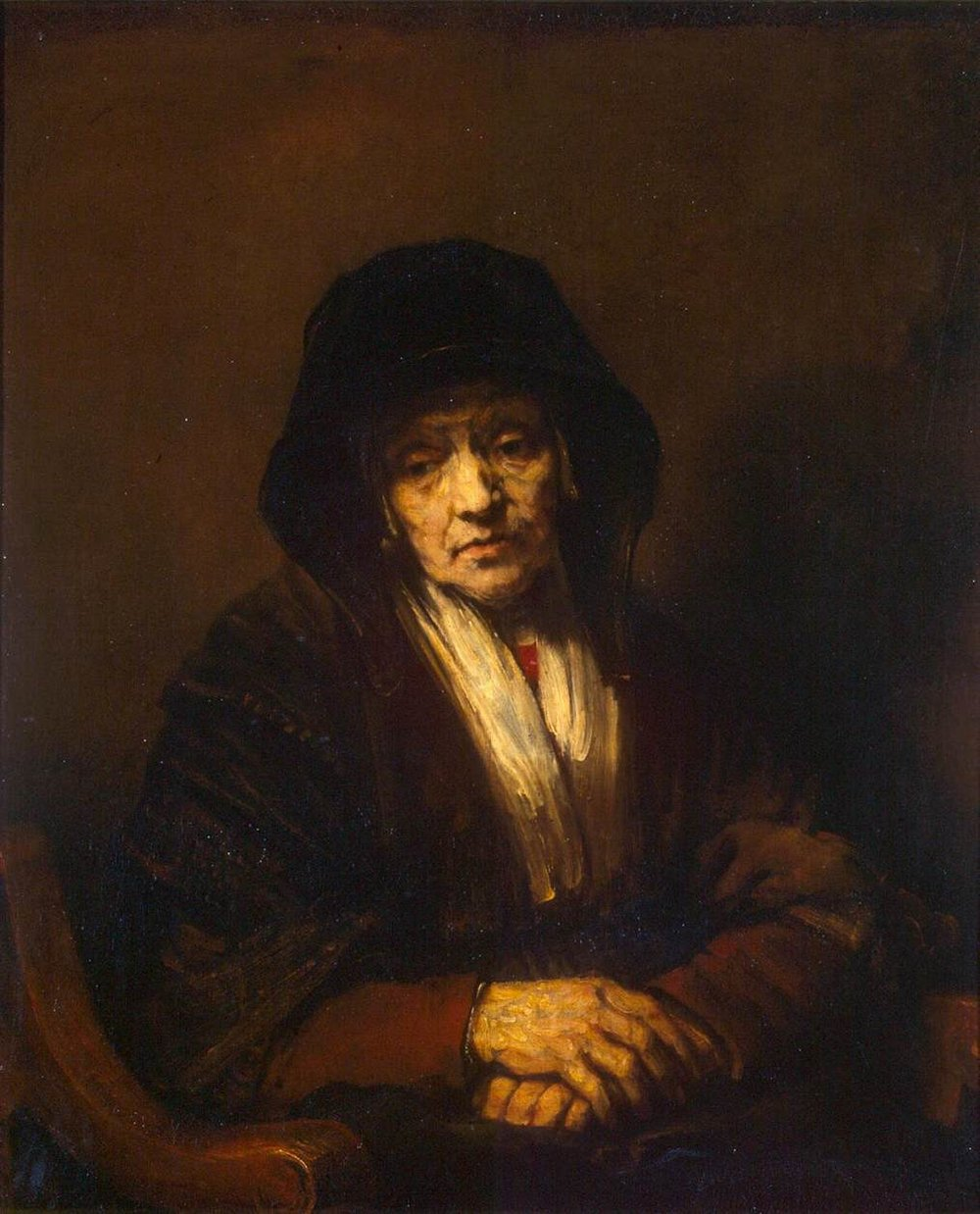 Рембрандт писал стариков едва ли с не наибольшим удовольствием.Прожитая жизнь казалась ему чем-то, что оставляет на человекенеизгладимый след. Портрет старухи . 1654. Эрмитаж, Санкт-Петербург
