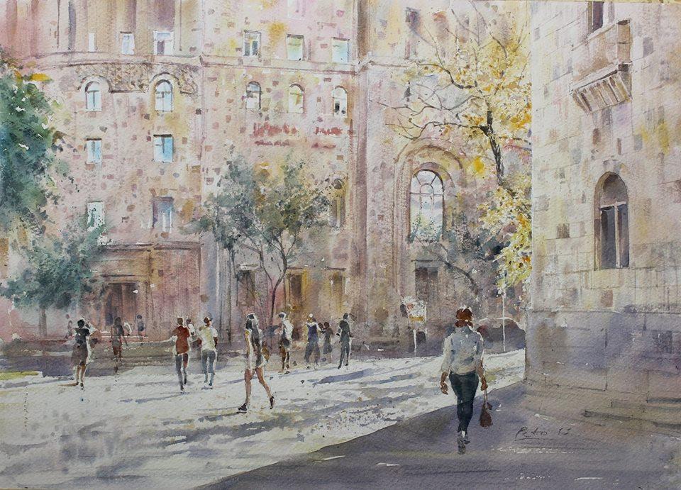 Но чаще Пето Погосян рисует залитые солнцем армянские города. Объективно, сегодня он лучший акварелист Армении
