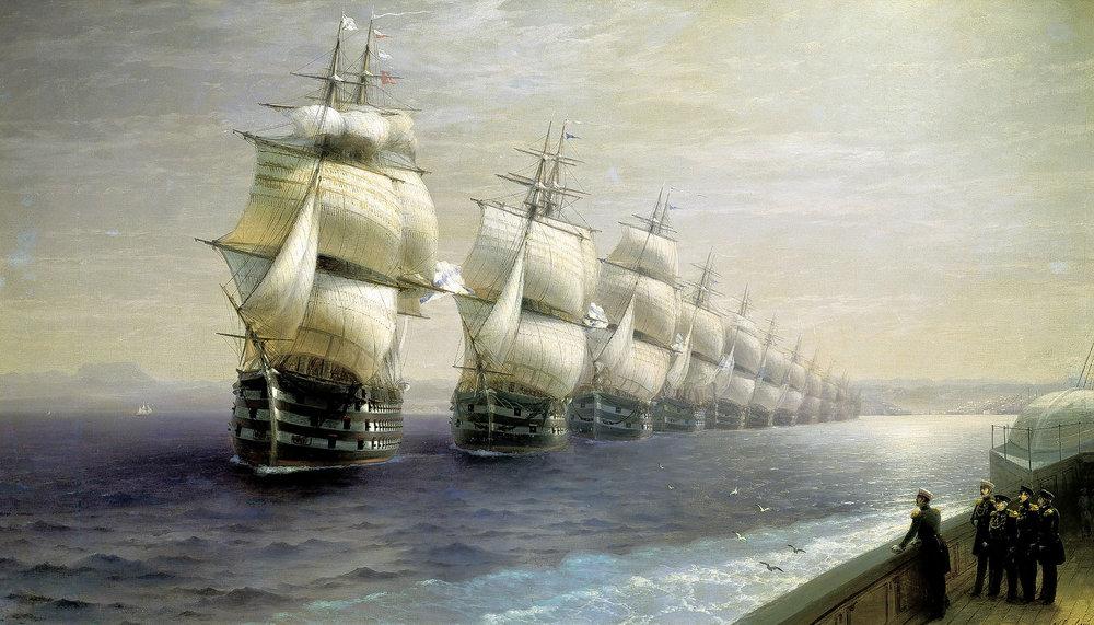 """И.К. Айвазовский """"Смотр Черноморского флота в 1849 году""""."""