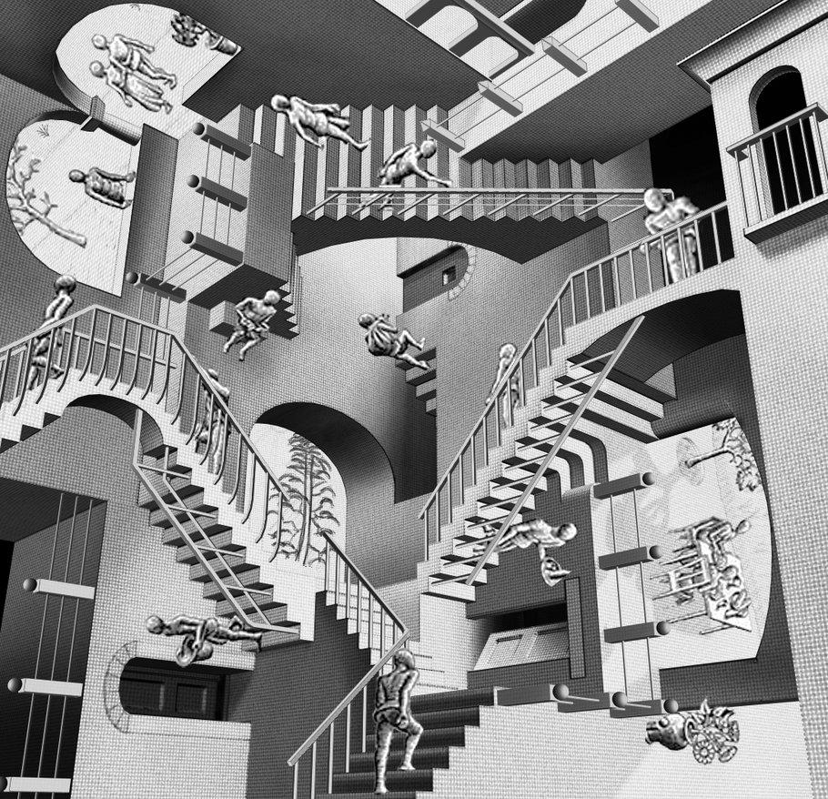 Эшер словно изображал Спюрк:Галереи, лестницы бесконечных переходов из плоскости в плоскость.