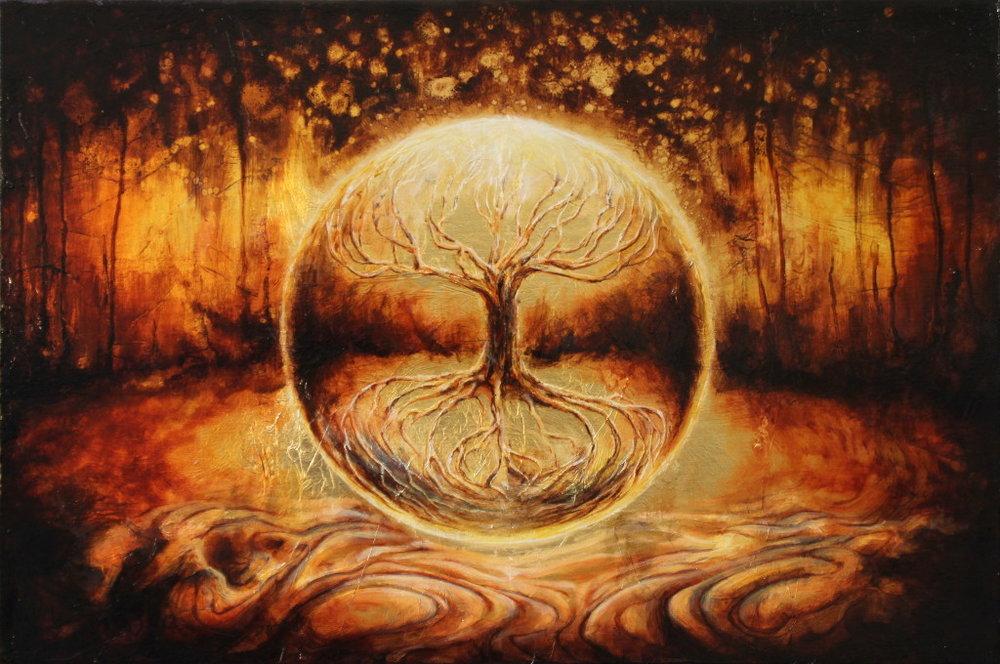 Ось мира(лат.Axis mundi)— вмифологииирелигииось, связывающая небо и землю. В культурах практически всех народов Земли существуют мифологемы и образы, соответствующие религиоведческому понятию «оси мира». Это может быть столб (лат.universalis columna), лестница, гора, дерево, лиана и др.www.artinparadise.com.au