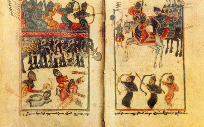 V–XI века - В течение V–VI веков Армения оставалась разделенной между Восточной Римской империей (Византией) и Персией. В этот период армяне сумели сохранить себя и свою культуру. Большую роль в этом сыграло создание в начале V века армянским ученым Месропом Маштоцем армянской письменности.