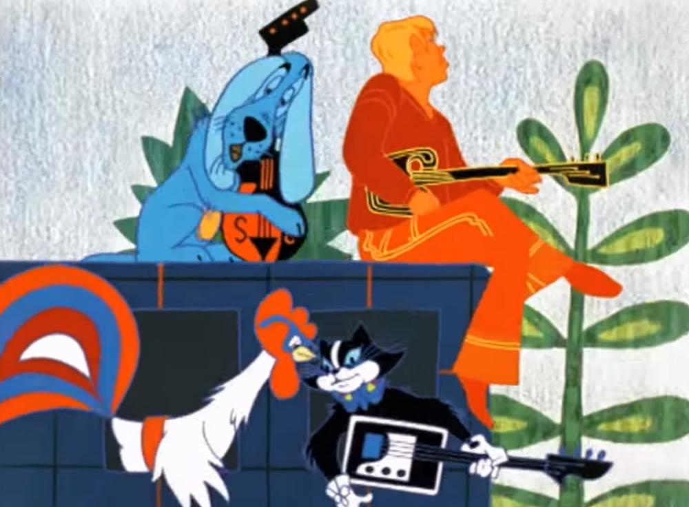 Сцена из мультфильма «Бременские музыканты»