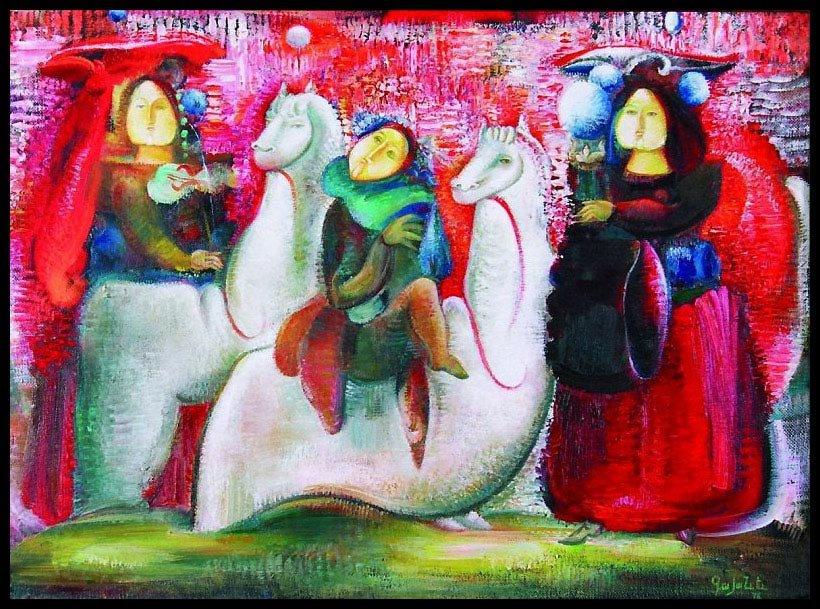 Красноволосые-жонглерессы-и-танцующая-кукла-1976-Гаянэ-Хачатурян Из собрания Валерия Ханукаева.