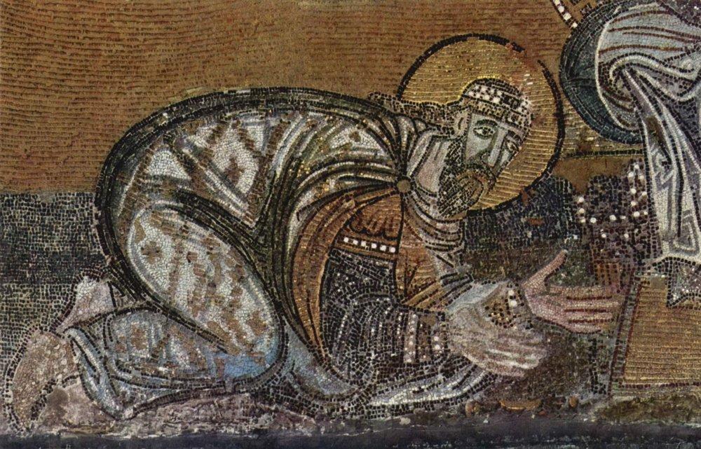 Лев VI перед Христом. Мозаика в соборе Св. Софии
