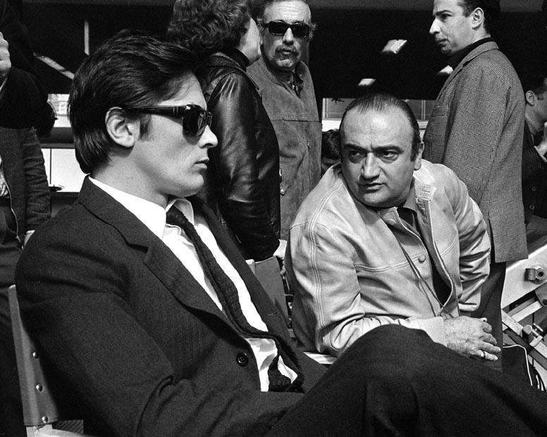 Ален Делон и Анри Вернёй на съемках «Мелодии из подвала»
