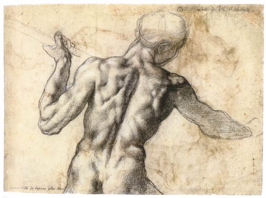 Так родился жанр «экорше» – изображение (рисунок, скульптура) фигуры человека без кожного покрова, с открытой мышечной структурой. Рисунок Микеланджело Буонаротти. Фотоwww.wga.hu