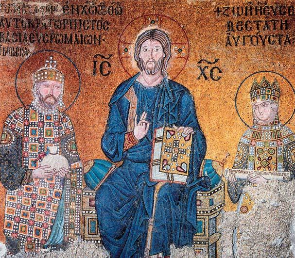 Иисус Христос с предстоящими — императором Константином XI Мономахом и императрицей Зоей. Мозаика XIV века.Собор Святой Софии