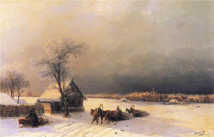 Иван Айвазовский. «Москва зимой. Вид с Воробьевых гор», 1872