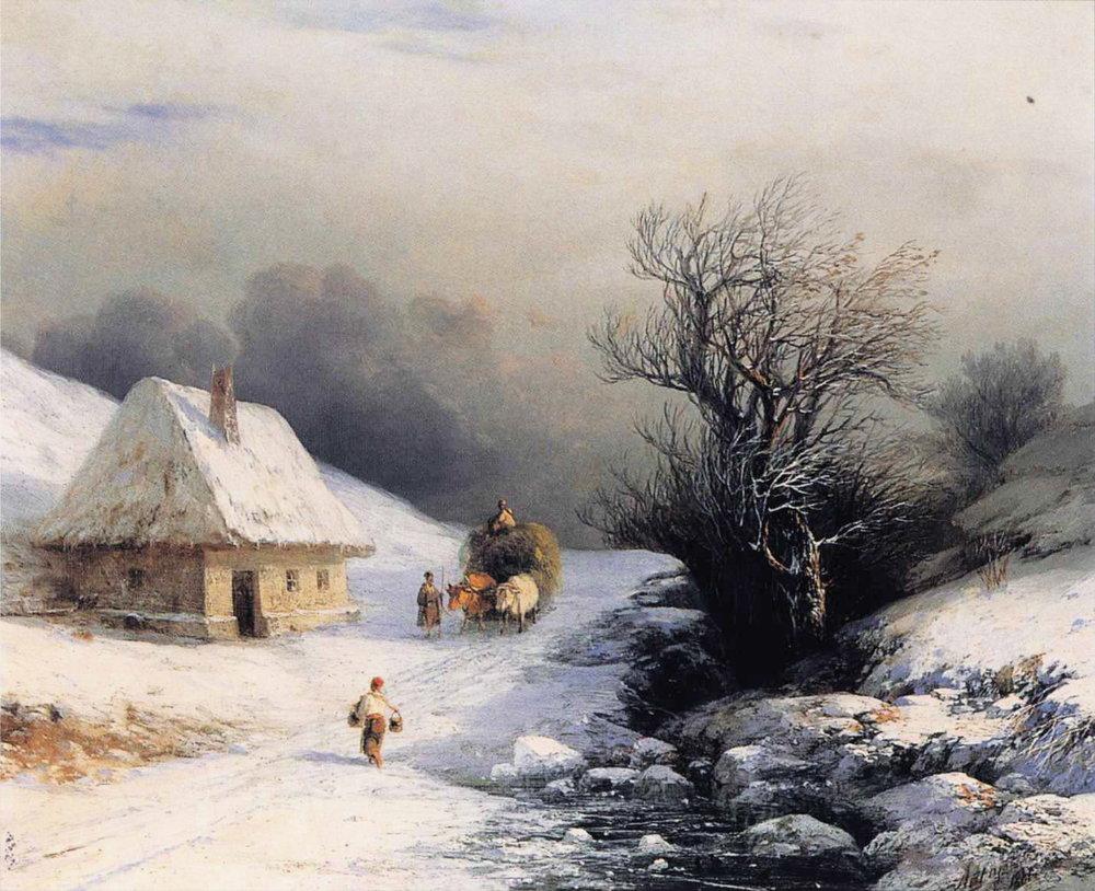 Иван Айвазовский. «Телега с волами зимой», 1866