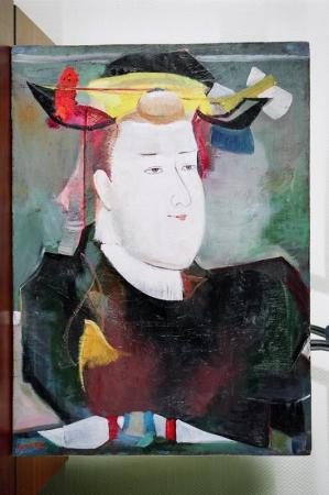 """Гаянэ Хачатурян. """"С посвящением Великому из великих Китогава Утамаро"""", 1976, 71,5х51,5, дерево, масло"""