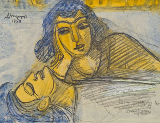 Ара и Шамирам. 1950. Рисунок из собрания Национальной галереи Армении.