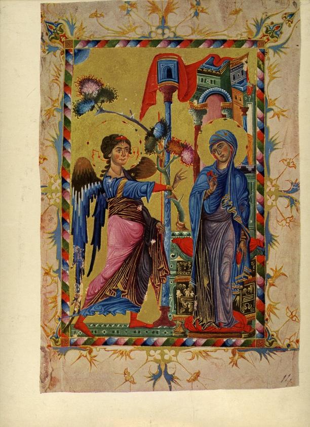 Торос Рослин. «Благовещение». Миниатюра XIII века, Киликия