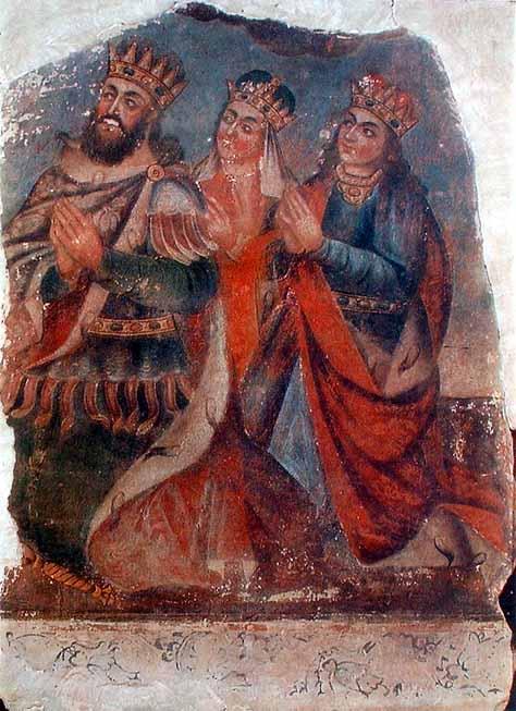 «Царь Трдат III с женой Ашхен и сестрой Хосровадухт». Роспись в Соборе Св. Эчмиадзина