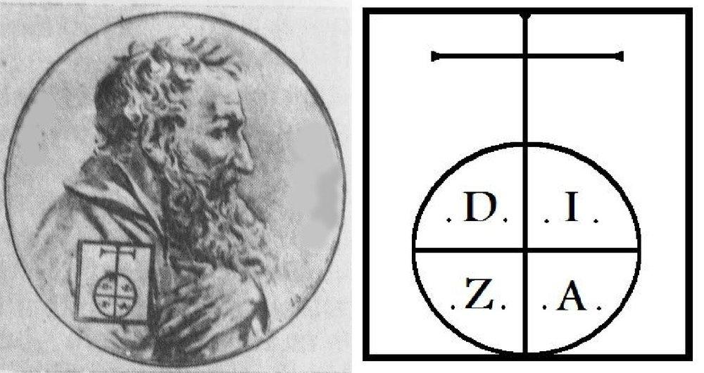 Акоб Мегапарт с изображением своего типографского знака.D. I. Z. A,т.е. Dei Servus Iakobus Zanni Armenius (Божий сын Ованнес, армянин)