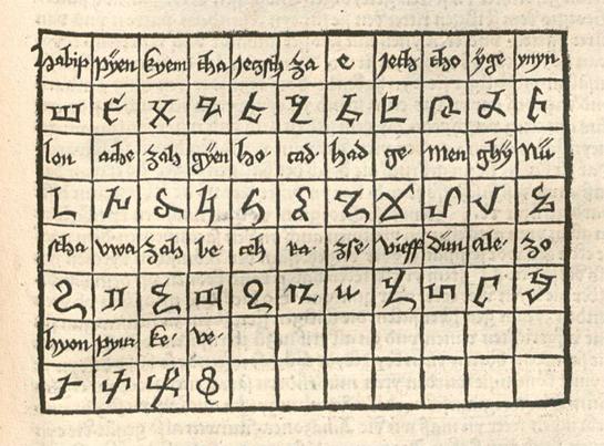 Армянский алфавит из книги Бернарда фон Брайнденбаха «Путешествие к священной земле», 1486 год