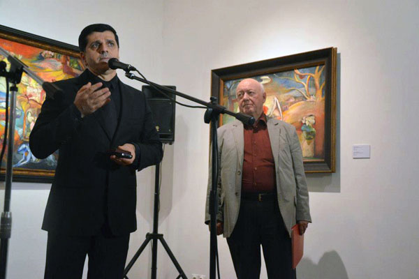 Борис Мессерер и Валерий Ханукаев на открытии выставки Гаянэ в Москве