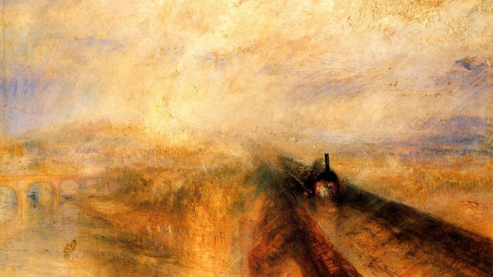 """""""Дождь, пар, скорость"""" - метафизика по-европейски выглядела так. Знаменитое плотно Уильяма Тёрнера, преклонявшегося перед даром российского мариниста"""