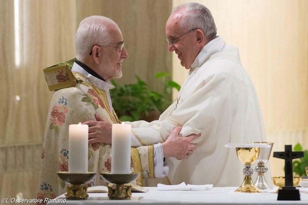 В сентябре 2015 годаПапа Римский Франциск совершилМессу в сослужении Патриарха Армянской Католической Церкви Григора Бедроса XX. Богослужение состоялось в часовне Дома Святой Марфы©sib-catholic.ru