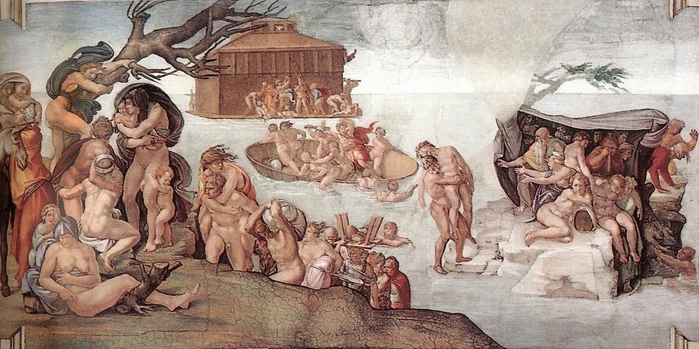 Одна из фресок работы Микеланджело Буонарроти в Сикстинской капелле, Ватикан. Роспись потолка Сикстинской капеллы представляет собой известнейший цикл фресок Микеланджело, созданный в 1508–1512 гг.