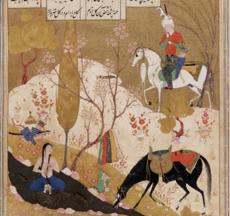 Хосров видит купающуюся Ширин, фрагмент миниатюры из рукописи поэмы Низами / источник фото: wikipedia.org