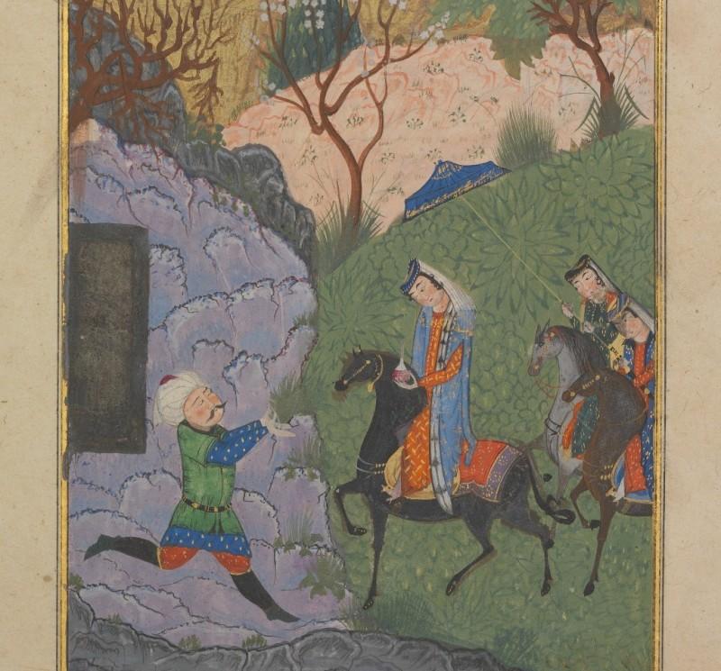 Персидскими Ромео и Джульетту называют Хосрова и Ширин.Здесь: Хосров и Ширин, фрагмент миниатюры XV века из Амасьи / источник фото: metmuseum.org