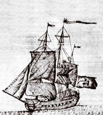 Армянский торговый корабль в Индийском Океане (гравюра)