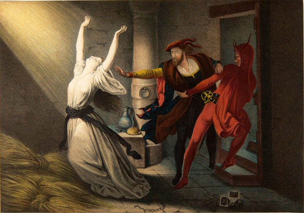 А душа Фауста, используя религиозный пыл, пошла отвоевывать у Бога и природы знание.во многом ее провоцировал Сатана