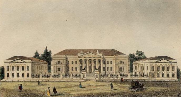 Лазаревский институт восточных языков.Гравюра на металле с поздней окраской (Париж,1838)