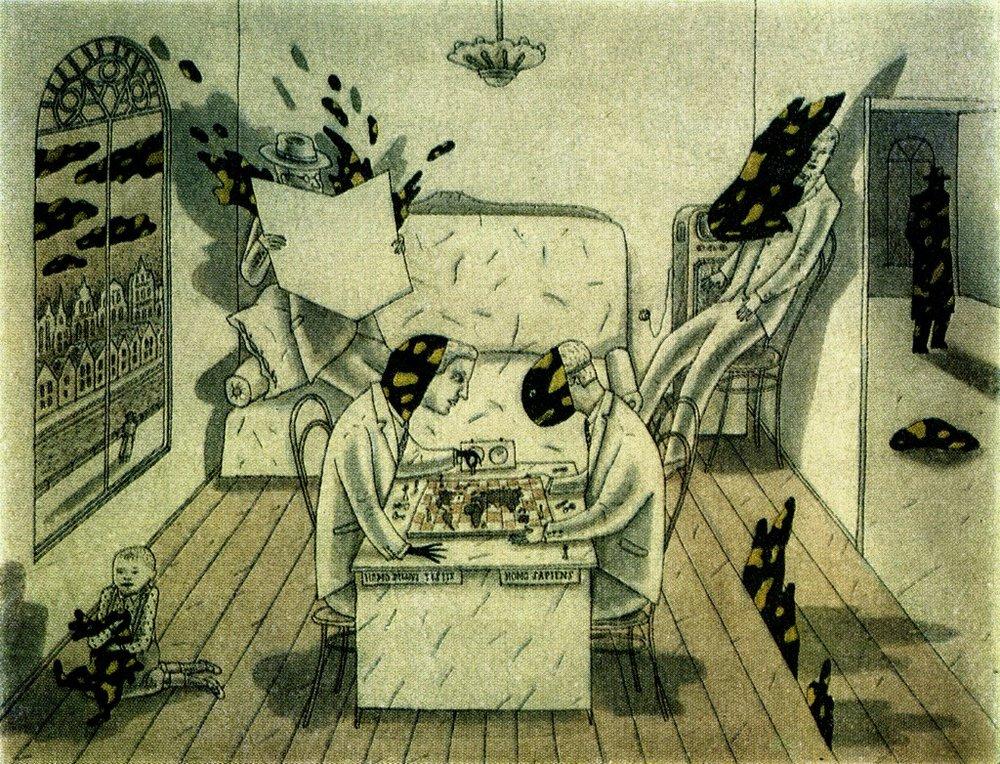 """Иллюстрация Леонида Тишкова к знаменитой антивоенной книге чешского писателя Карела Чапека """"Война с саламандрами"""". В отличие от многочисленных писателей-фантастов, использовавших затем слово «робот» для обозначения человекоподобных неживых механизмов, Карел Чапек назвал этим словом не машины, а живых людей из плоти и крови, только созданных на специальной фабрике."""