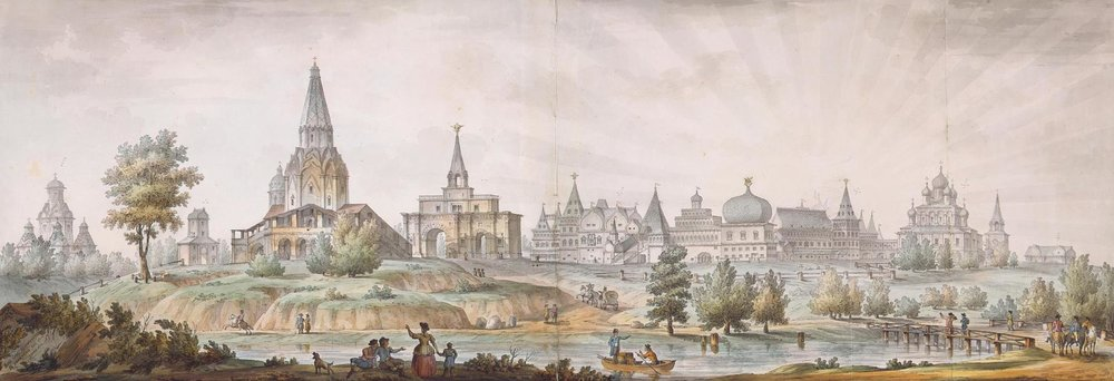 Панорама села Коломенское. XVIII в. Акварель Сухова по рисунку Кваренги, 1930