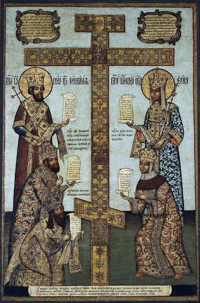 Икона «Кийский крест с предстоящими» (слева: император Константин, царь Алексей Михайлович, патриарх Никон; справа: императрица Елена, царица Мария Ильинична)