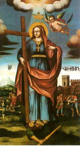 Святая Рипсиме в красном платке мученицы - картина Овнатана Овнатаняна в Кафедральном Соборе Эчмиадзина.