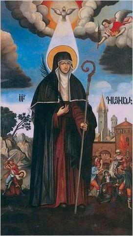 Святую Гаяне изображают взрослой женщиной, с плотно закрытой шеей и покрытыми волосами. Картина Овнатана Овнатаняна в Кафедральном Соборе Эчмиадзина.