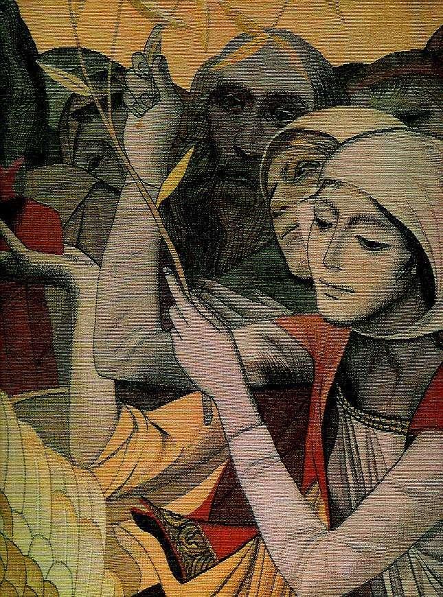 Девушки стоят на одной линии, как храмы Рипсиме и Шогакат, аллегории храмов, или сами святые. Вторая девушка изначально была блондинкой, но на фреске волосы ей сделали темными.