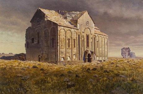 Геворг Башинджагян. Руины собора Святой Девы в Ани, 1901