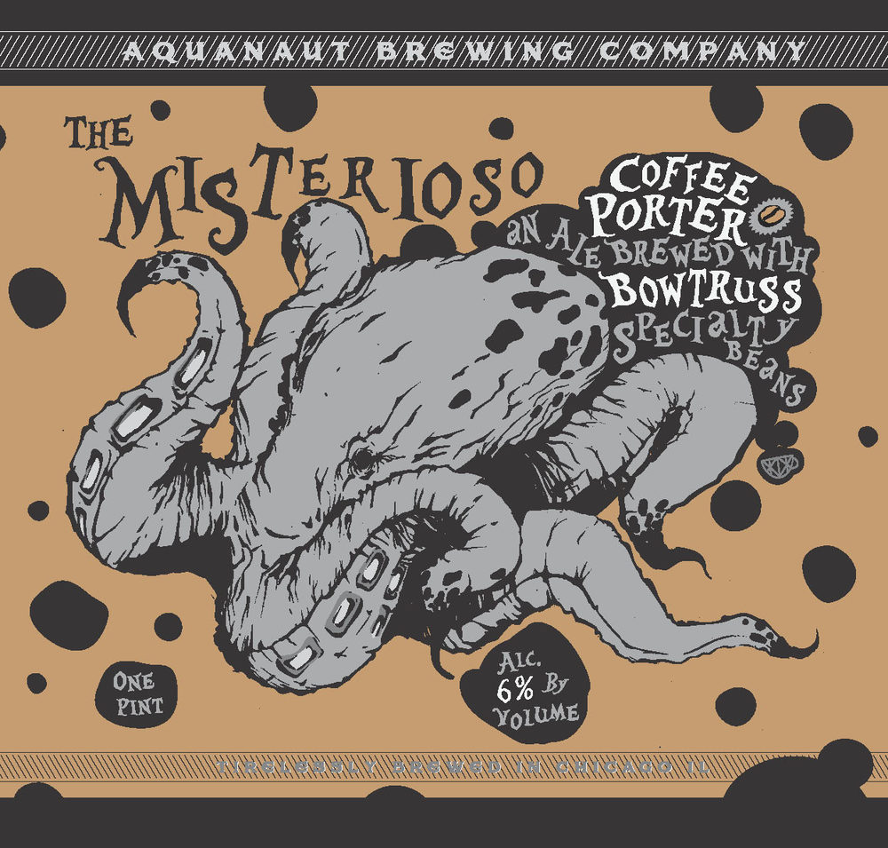 """""""Misterioso"""" Porter infused with coffee 6%A.B.V. Swimming harmoniously under a pillow of tawny brown cream lies the dark and intriguing spirit of this smooth and complex ale. Sharp aromas of mildly dark chocolate, toffee and rich caramel lead you immediately to a sip that wraps your tongue with dark roasted grains and rich stone fruit like sweetness."""