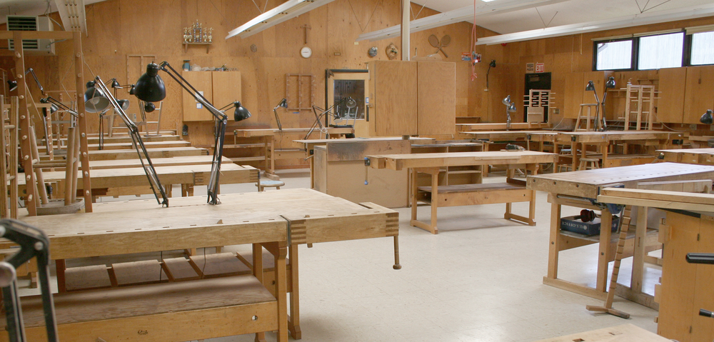 Woodworking benches at the College of the Redwoods