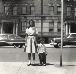 Terry Baker Mulligan and her brother Houston in front of their Sugar Hill home.  Photo courtesy of Terry Baker Mulligan.