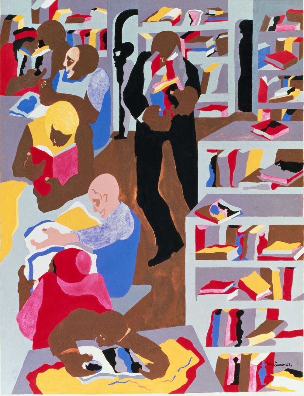 Jacob Lawrence,  Schomburg Library 1987 ©2016 The Jacob and Gwendolyn Knight Lawrence Foundation, Seattle/Artists Right Society (ARS), New York