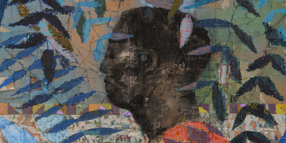 Image: Derek Fordjour,  (Detail) No. 77, 2017 , Acrylic, charcoal and oil pastel on newspaper mounted on canvas, 30 x 24 inches, Courtesy the artist