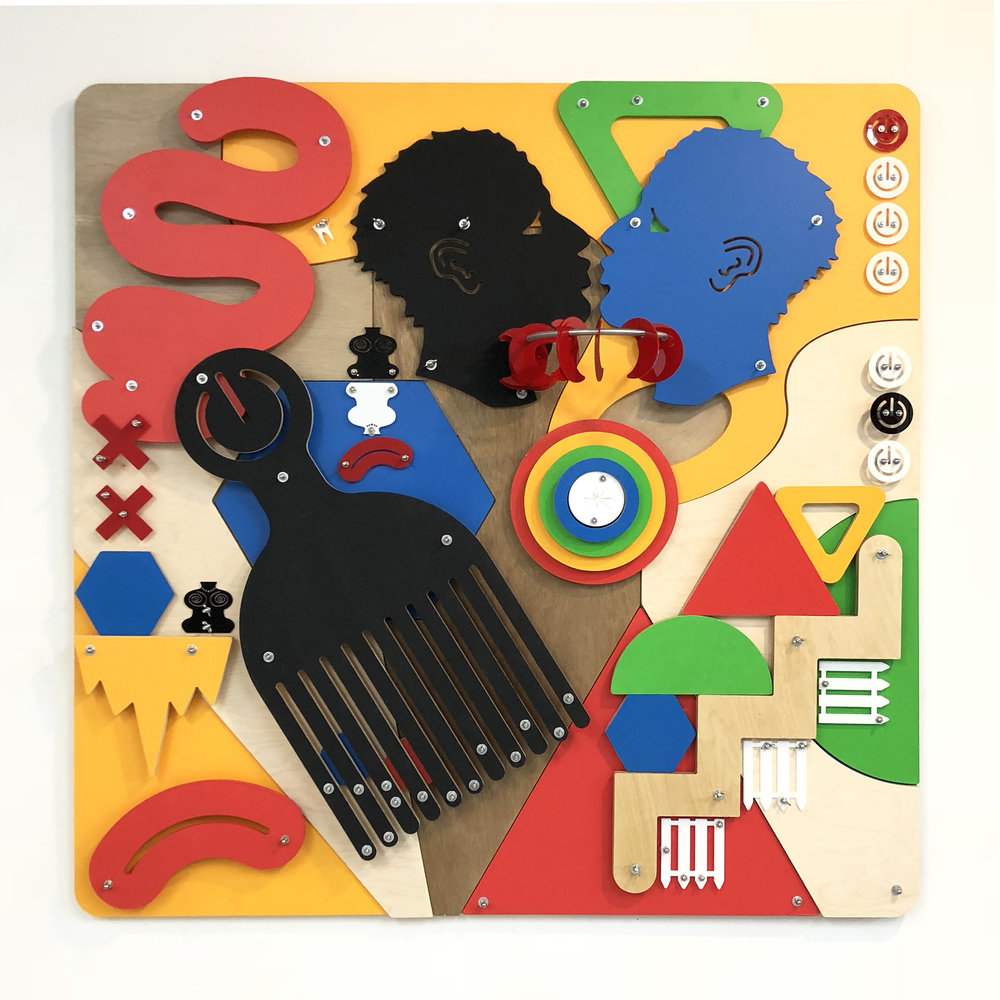 Playing Games (Blackamoors Collage #129), 2018, Laser-cut plexiglass, CNC milled plywood and stainless steel hardware, 60 x 60 x 11 inches.