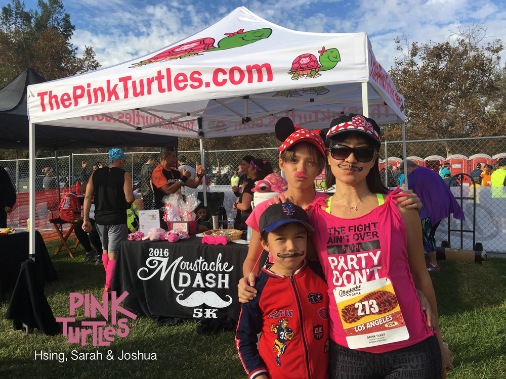 Pink Turtles Using, Sarah, Joshua at Mustache Dash